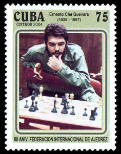 Che Guevara playing chess stamp