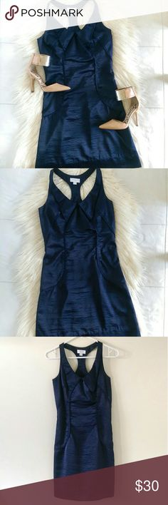 Richard Chai Navy Cocktail Dress Beautiful navy blue form fitting cocktail mini dress. Halter back detail and thick trim detail running down dress in front and back. Goldberg collar detail around neckline. Hidden zipper on side. Not lined. Silky smooth feel of material. Size 3, fits like S/M. Refer to measurements for fit. Bust measures 15' flat across. Waist is 14'. Widest area of hip measures 18'. Length is 34'.   Excellent condition. Open to offers.  No trades. No modeling. Richard Chai…