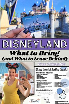 """Packing for Disney? Along with travel planning, having a Disneyland packing list is an important way to ensure you're remembering what to bring to Disneyland. These Disney packing ideas are a helpful tool for a smooth vacation! Use the free printable Disneyland packing checklist as a guide when prepping your suitcase. Be sure to read over the """"banned items"""" list and be aware of what things NOT to bring into the parks when Disney packing including strollers, bubbles, camera equipment and more! Disney Day, Disney Travel, Disney Family, Disney Cruise, Disney Parks, Disney Resorts, Disney Vacations, Disney Trips, Disneyland Restaurants"""