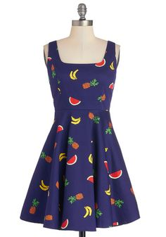 Cutest of the Fruit Dress - Blue, Multi, Novelty Print, Casual, Fruits, Tank top (2 thick straps), Scoop