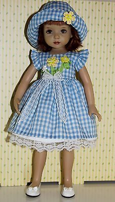 ~*~Gingham Garden Daisy Blues~*~ fits Effner Little Darling~ Sewing Doll Clothes, Crochet Baby Clothes, Sewing Dolls, Doll Clothes Patterns, Girl Doll Clothes, Clothing Patterns, Girl Dolls, Homemade Dolls, Wellie Wishers