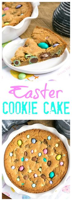 Easter Cookie Cake, a giant, chewy cookie packed full of chocolate chips and Easter candy! Holiday Desserts, Easy Desserts, Holiday Recipes, Holiday Baking, Easter Candy, Easter Treats, Easter Food, Easter Brunch, Easter Salad