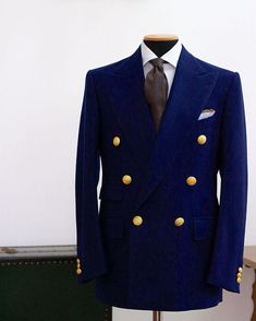 """sartoriacresent: """"Double breasted blazer with antique button """""""