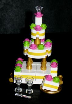 LEGO Custom Wedding Cake Bride Groom Wine Town Hall 10224 Pastry Friend Bakery #LEGO
