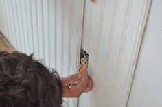How to Install Beadboard Wainscoting How To Install Beadboard, Installing Wainscoting, Beadboard Wainscoting, Home Improvement Center, Diy Home Improvement, Mobile Home Decorating, Decorating Ideas, Cabin Ideas, House Ideas