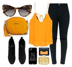 """""""Outfit Of The Day"""" by smartbuyglasses ❤ liked on Polyvore featuring MANGO, STELLA McCARTNEY, Mario Valentino, H&M, Kenneth Jay Lane, Casetify, NARS Cosmetics, yellow, black and orange"""