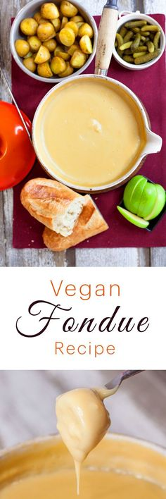 Vegan Cheese Fondue Recipe  This is the best vegan fondue recipe out there! This dairy free cheese fondue is perfect for entertaining guests, or having a romantic date night in for two. Using rice, potato and cashews as the creamy base makes this a healthy, vegan, plant based cheese fondue option.