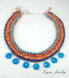 Blue Topaz Faceted beads Statement Necklace by ZegnaJewelry, $138.00