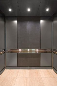 LEVELe-105 Elevator Interior with customized panel layout; panels in Bonded Nickel Silver with Dark Patina and Charleston pattern, Fused Nickel Silver with Sandstone finish, and Stainless Steel with Satin finish; Round handrails at PeaceHealth Southwest Medical Center, Vancouver, Washington