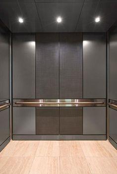 Elevator Interior with customized panel layout . Steel Wardrobe, Wooden Wardrobe, Bedroom Cupboard Designs, Wardrobe Design Bedroom, Bedroom Cupboards, Elevator Design, Lift Design, Lobby Interior, Elevator