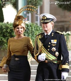 La princesse Maxima et le prince Willem-Alexander des Pays-Bas sortant de la cathédrale Notre-Dame de Luxembourg où le prince Guillaume et S...