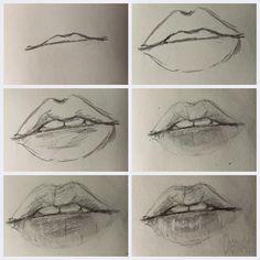lips, drawing, and art image Pencil Art Drawings, Art Drawings Sketches, Realistic Drawings, Cute Drawings, How To Shade Drawings, Drawing Techniques, Drawing Tips, Mouth Drawing, Sketch Mouth