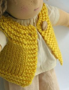 Waldorf Doll Sweater Vest Natural Yellow by BeneathTheRowanTree, $18.00