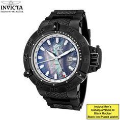 Invicta Men's 'Subaqua/Noma III' Black Rubber/ Black Ion-Plated Watch