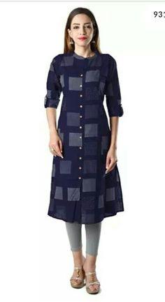 Bright Cotton Kurti for Women Black Kurta Cotton - Webcurry Salwar Designs, Kurta Designs Women, Blouse Designs, Dress Designs, Kurtha Designs, Kurta Cotton, Silk Kurti, Kurti Patterns, Blouse Patterns