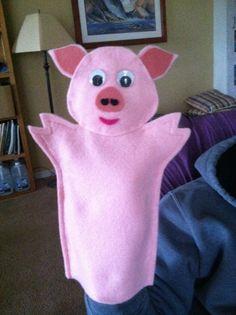 Items similar to Pig Hand Puppet on Etsy Felt Puppets, Felt Finger Puppets, Hand Puppets, Hand Socks, Fairy Tale Crafts, Operation Christmas Child, Kindergarten Crafts, Three Little Pigs, Felt Patterns