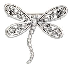 Sterling Silver 27x31mm Filigree Wings and Curved Body Dragonfly Pin. 100Silver. $24.66