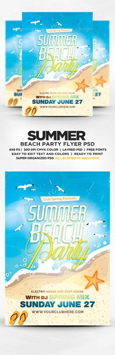 Hot Summer Beach Party Flyer Template PSD  • Only available here ➝ http://graphicriver.net/item/summer-beach-party-flyer-template-psd/16258971?ref=pxcr