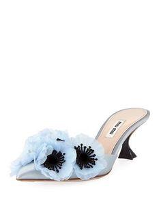 Fashion Themes, Fashion Colours, Blue Fashion, Pastel Blue Color, Shoe Gallery, Shades Of Blue, Miu Miu, Heeled Mules, Kitten Heels