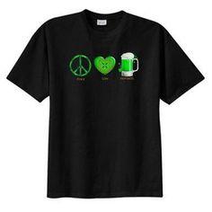 Irish Peace Love Happiness Beer New T Shirt, S M L XL 2X 3X 4X 5X Celtic, St Patricks #Zibbet