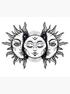 'Vintage Solar Eclipse Sun and Moon' Sticker by MagneticMama – Tattoo Sketches & Tattoo Drawings Cool Art Drawings, Art Drawings Sketches, Tattoo Sketches, Tattoo Drawings, Sun And Moon Drawings, Sun Drawing, Drawing Art, Drawing Ideas, Sun And Moon Tapestry