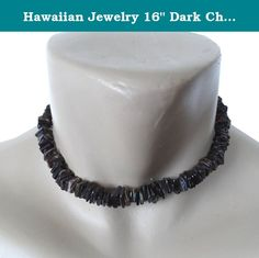 "Hawaiian Jewelry 16"" Dark Chip Puka Shell Necklace From Hawaii. Hawaiian dark chips puka shell necklace from Hawaii. Length is 16"" and has a sturdy twist barrel lock."