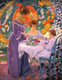 Karl Albert Buehr (1866–1952) American Impressionist Painter ~ Under the Parasol