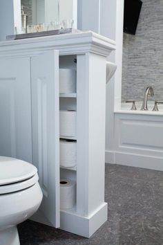 storage space with half wall by toilet - could be open shelf? storage space with half wall by toilet - could be open shelf? 28 Bathroom Storage Ideas to Getting Clutter Away Bathroom Wall Decor, Bathroom Layout, Bathroom Styling, Bathroom Storage, Bathroom Ideas, Wooden Bathroom, Bath Ideas, Bathroom Organization, Bathroom Inspiration