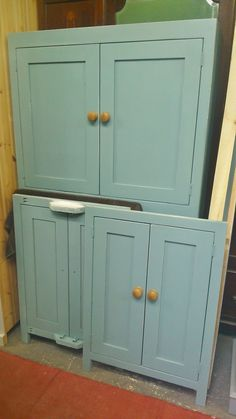 More reclaimed pine & painted cupboards for utility or kitchen rooms..painted in Farrow & Ball 'oval room blue'.