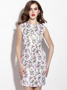 Fashion Sleeveless Floral Print Slim Dress