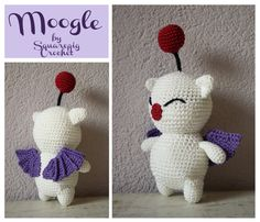A friend of mine requested a Moogle, a great opportunity to try out some different wings! Wings are quite hard to crochet but I think they turned out pretty good and they are easy to make. The pattern is written in English.