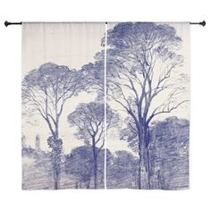 Ancient Tree Sketches in Indigo Curtains