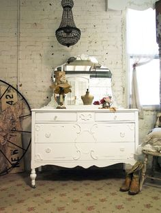 Painted Cottage Chic Shabby White Dresser and by paintedcottages, $425.00
