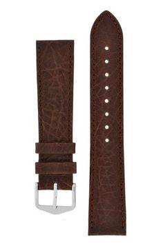 Hirsch DENVER Natural Leather Watch Strap in BROWN