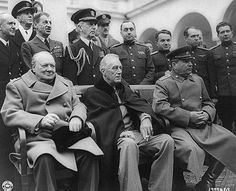 Crimean Conference--Prime Minister Winston Churchill, President Franklin D. Roosevelt, and Marshal Joseph Stalin at the palace in Yalta, whe...