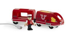 The Brio Travel Rechargeable Train is a high quality wooden toy made by the Swedish company Brio, the world's largest manufacturer of toys which are both educational and fun. Brio Train Track, Wooden Train, Train Engines, Soft Plastic, Running Training, Fire Trucks, Wooden Toys, Minis, Safari