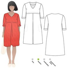 Womens v-neck dress PDF sewing pattern by Style Arc. Sewing pattern for women in sizes 10, 12 and 14. PDF pattern for instant download and printing at home or the office on A4 or US Letter size paper. See size chart in the Gallery to choose your correct size! Sizes 4 - 30 are available in our store. Other sizes available here: www.etsy.com/shop/StyleArc/search?search_query=patricia+rose Feel comfortable and look great in this gorgeous V-neck dress. The under-bust horizont...