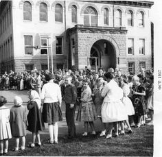Fire Department visits Sharpstein School during Fire Prevention Week in October 1957.