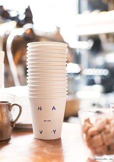At Navy restaurant, New York City, coffee cups, logo, print, design, font / Garance Doré