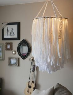 18 Dazzling DIY Chandeliers to Brighten Your Home Cloth chandelier – DIY is going to make this for our bedroom. Decoration for Succot, Party, Birthday … Children's Room or Bedroom: Boho Diy, Boho Decor, Bohemian Lamp, Diy Deco Rangement, Diy Luz, Diy Casa, Diy Chandelier, Handmade Chandelier, Iron Chandeliers