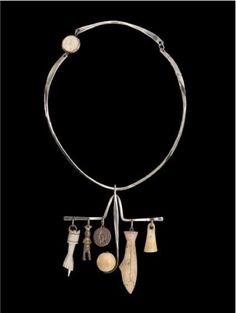 Ramona Solberg, Shaman's Necklace, 1968 Sterling Silver, Alaskan ivory, found objects  Museum of Arts and Design, 1977