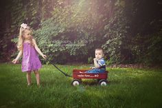 Brother and Sister in Red Wagon - Outdoor Photo Session  www.jandb-photography.com