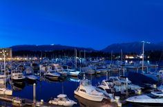Coal Harbour Marina with the North Shore mountains in the backdrop #blurrdMEDIA #architecture #photography