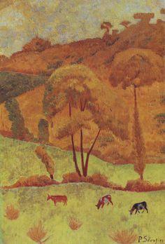 Harmony in Yellow by Paul Sérusier Paul Gauguin, Paul Signac, Landscape Illustration, Landscape Art, Landscape Paintings, Edouard Vuillard, Georges Seurat, Maurice Denis, Felix Vallotton