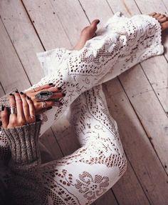 Gorgeous boho white lace gypsy pants.