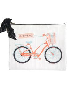 Cosmetic Bag Happy Day Bicycle Print