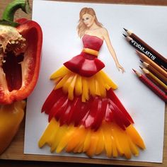 The creative illustrator Edgar Artis uses food and everyday objects to create illustrations that convey an impressive movement. Fashion Design Drawings, Fashion Sketches, Fashion Illustrations, Gown Drawing, Arte Fashion, 3d Fashion, High Fashion, Creation Art, Illustration Mode