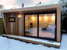 A lovely cozy Pinnacle garden room. In the snow. With full insulation, our garde. - A lovely cozy Pinnacle garden room. In the snow. With full insulation, our garden rooms are suitabl - House Design, Garden Room, Garden Office, Garden Office Shed, Tiny House Design, Outdoor Rooms, Backyard Office, Container House Design, Contemporary Garden Rooms