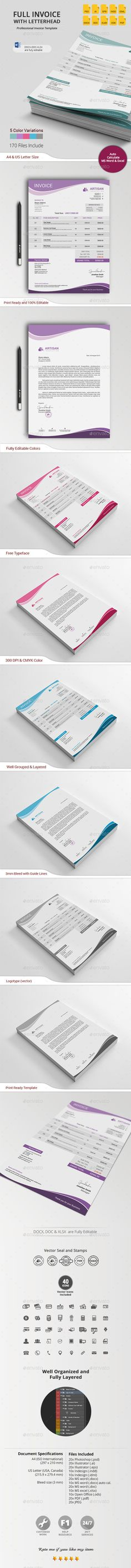 #Invoice with #Letterhead - #Proposals & Invoices #Stationery Download here: https://graphicriver.net/item/invoice-with-letterhead/13377589?ref=alena994