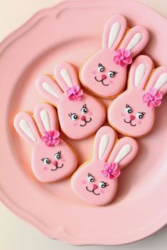 pink bunny cookies. Repinned by http://www.cookiecutter.com #easter #bunnies